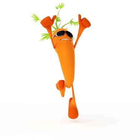 3d teruggegeven illustratie van een levensmiddel karakter - wortel