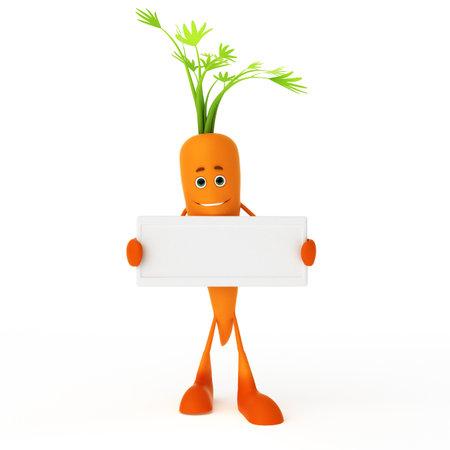 zanahoria caricatura: 3d rindió la ilustración de un personaje de alimentos - la zanahoria Foto de archivo