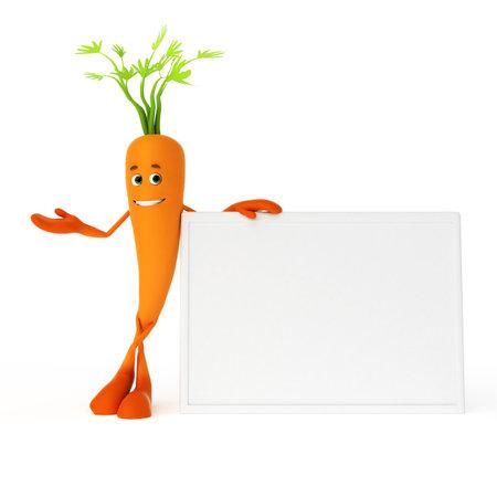 zanahoria: 3d rindi� la ilustraci�n de un personaje de alimentos - la zanahoria Foto de archivo