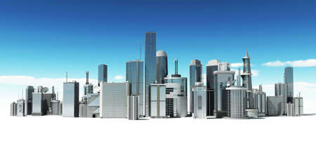 tall buildings: 3d rendered illustration of a futuristic city Stock Photo