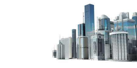 skyscraper sky: 3d rendered illustration of a futuristic city Stock Photo