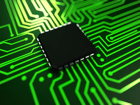 unit: 3d rendered abstract illustration of a cpu Stock Photo