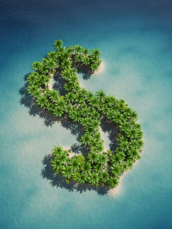 3d rendering of a dollar-shaped island photo