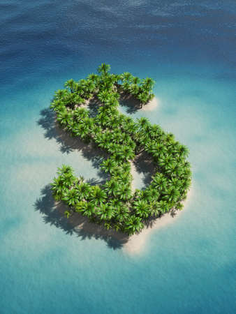 summer sign: 3d rendering of a dollar-shaped island