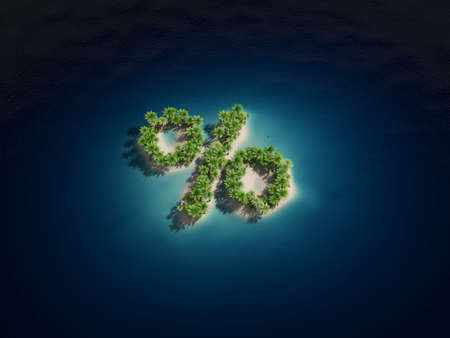3d bungalow: 3d rendered illustration of an island forming a percent sign