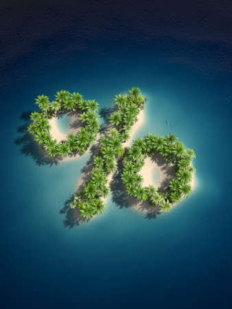 3d rendered illustration of an island forming a percent sign illustration