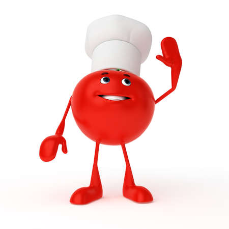 3d rendered illustration of a food character - tomato Stock Illustration - 13004992