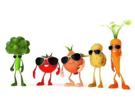 funny tomatoes: 3d rendered illustration of some funny food characters Stock Photo