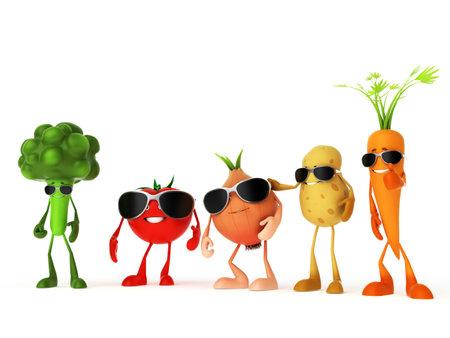 3d rindió la ilustración de algunos personajes de alimentos divertidos