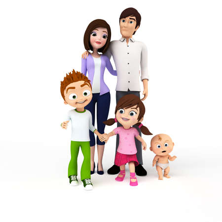 3d rendered toon illustration of a happy family illustration