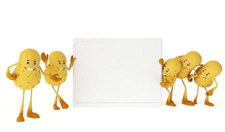3d rendered illustration of a food character - potatos Stock Illustration - 13273233