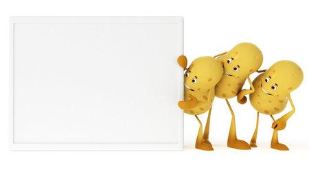 3d rendered illustration of a food character - potatos illustration