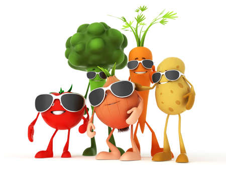 3d rendered illustration of some funny food characters Stock Illustration - 13273428