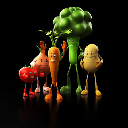 3d rendered illustration of some funny food characters Stock Illustration - 13273462