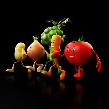 3d rendered illustration of some funny food characters Stock Illustration - 13273455