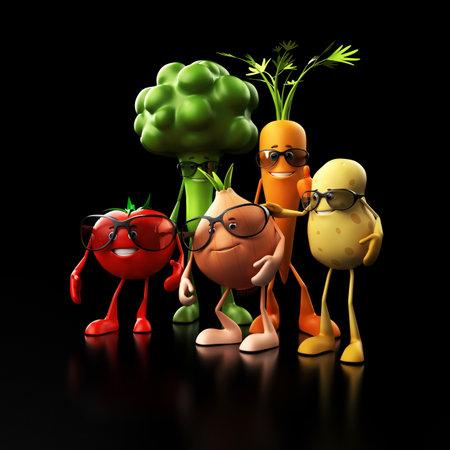 familia saludable: 3d rindi� la ilustraci�n de algunos personajes de alimentos divertidos Foto de archivo