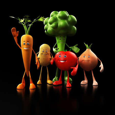 3d rendered illustration of some funny food characters Stock Illustration - 13273481