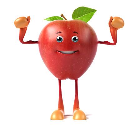 frutas divertidas: 3d rindi? la ilustraci?n de una manzana roja
