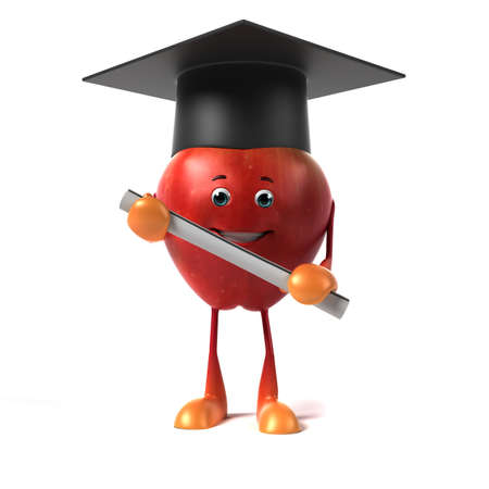 fresh graduate: 3d rendered illustration of a red apple