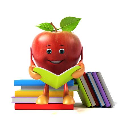 3d rendered illustration of an apple character illustration