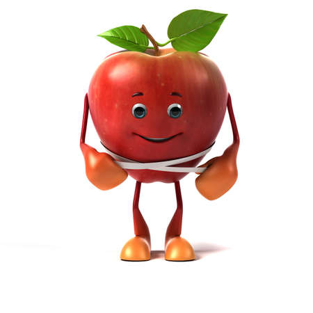 apple isolated: 3d rendered illustration of an apple character