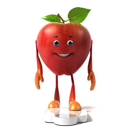 funny fruit: 3d rendered illustration of an apple character