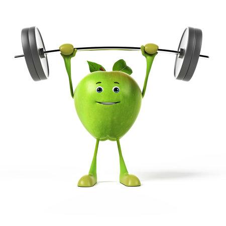 apple cartoon: 3d rendered illustration of a green apple