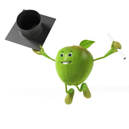 fresh graduate: 3d rendered illustration of a green apple