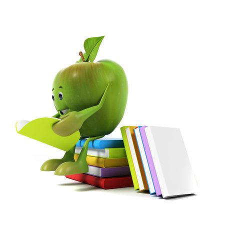 manzana caricatura: 3d rindió la ilustración de un personaje manzana