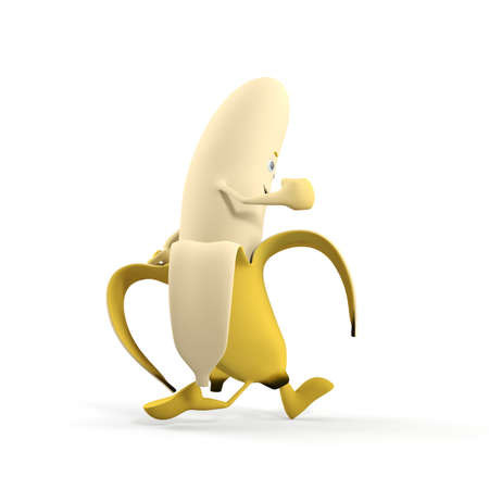 banana peel: 3d rendered illustration of a banana character