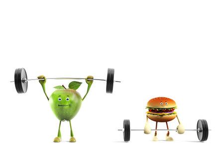 dumbell: 3d rendered illustration of an apple versus buger Stock Photo