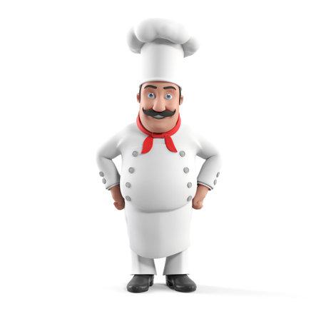 restaurante italiano: 3d rindi? la ilustraci?n de un chef de cocina Foto de archivo