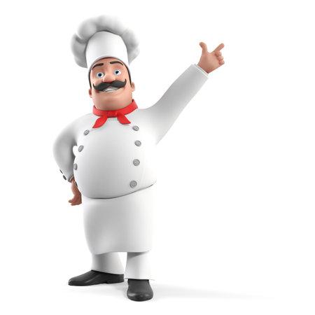 chef italiano: 3d rindi? la ilustraci?n de un chef de cocina Foto de archivo