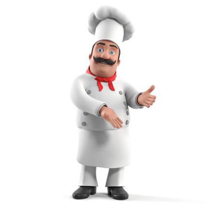 cocinero italiano: 3d rindi? la ilustraci?n de un chef de cocina Foto de archivo