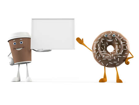 chocolaty: 3d rendered illustration of a coffee cup and donut