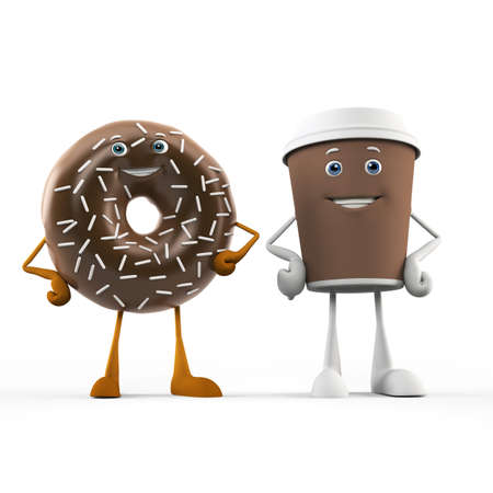 donut: 3d rendered illustration of a coffee cup and donut