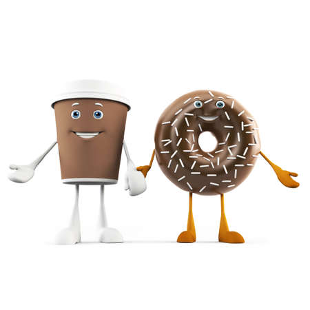 3d rendered illustration of a coffee cup and donut illustration