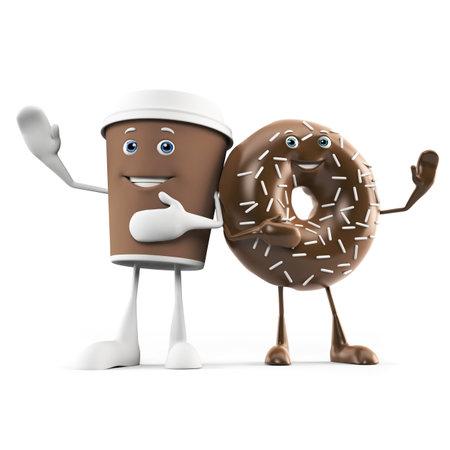 pareja comiendo: 3d rindió la ilustración de una taza de café y un donut