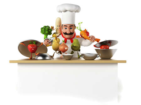 3d rendered illustration of a kitchen chef bothering with vegetables illustration
