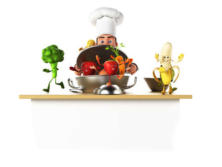 3d rendered illustration of a kitchen chef bothering with vegetables Stock Illustration - 17426622
