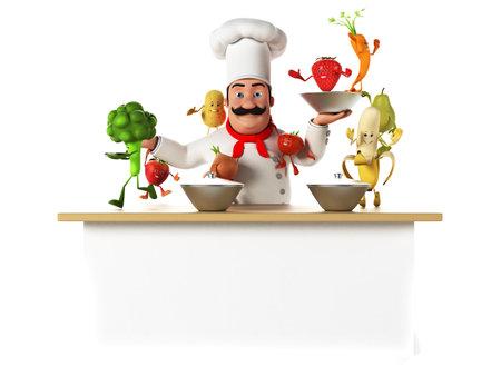 3d teruggegeven illustratie van een chef-kok lastig met groenten Stockfoto