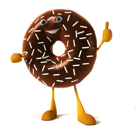 doughnut: 3d rendered illustration of a donut character