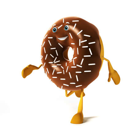3d rendered illustration of a donut character illustration