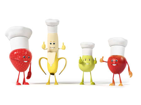 strawberry cartoon: 3d rendered illustration of a group of fruits