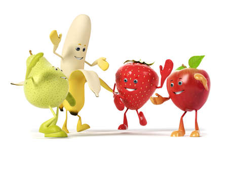 cartoon banana: 3d rendered illustration of a group of fruits
