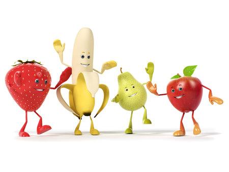 manzana caricatura: 3d rindió la ilustración de un grupo de frutas