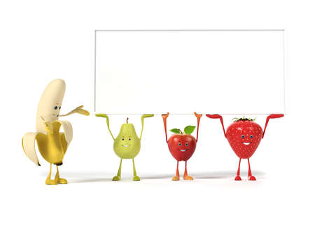 cartoon strawberry: 3d rendered illustration of a group of fruits