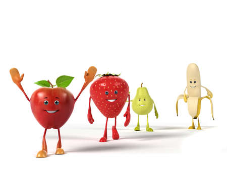toon: 3d rendered illustration of a group of fruits