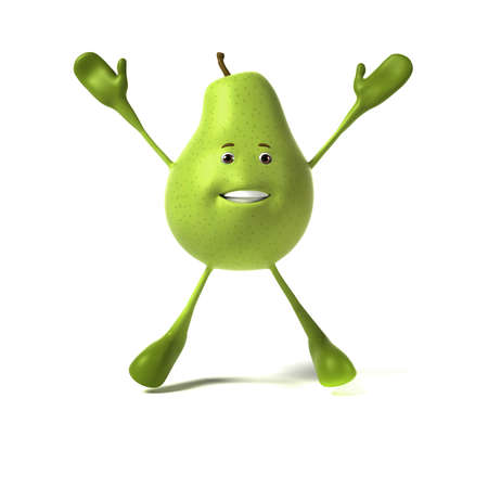 3d rendered illustration of a pear character