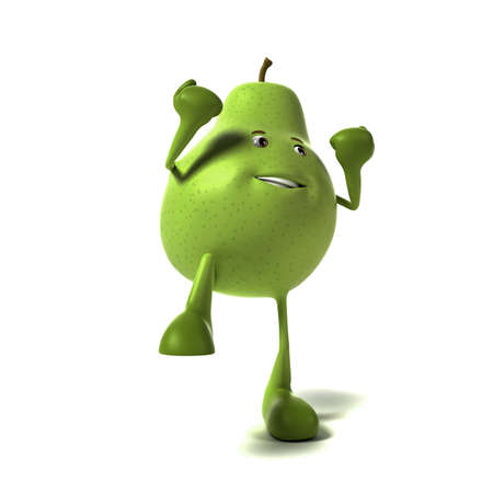 funny fruit: 3d rendered illustration of a pear character